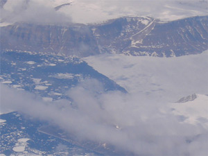 Click on the image to see a larger photo of Baffin Island from an airplane